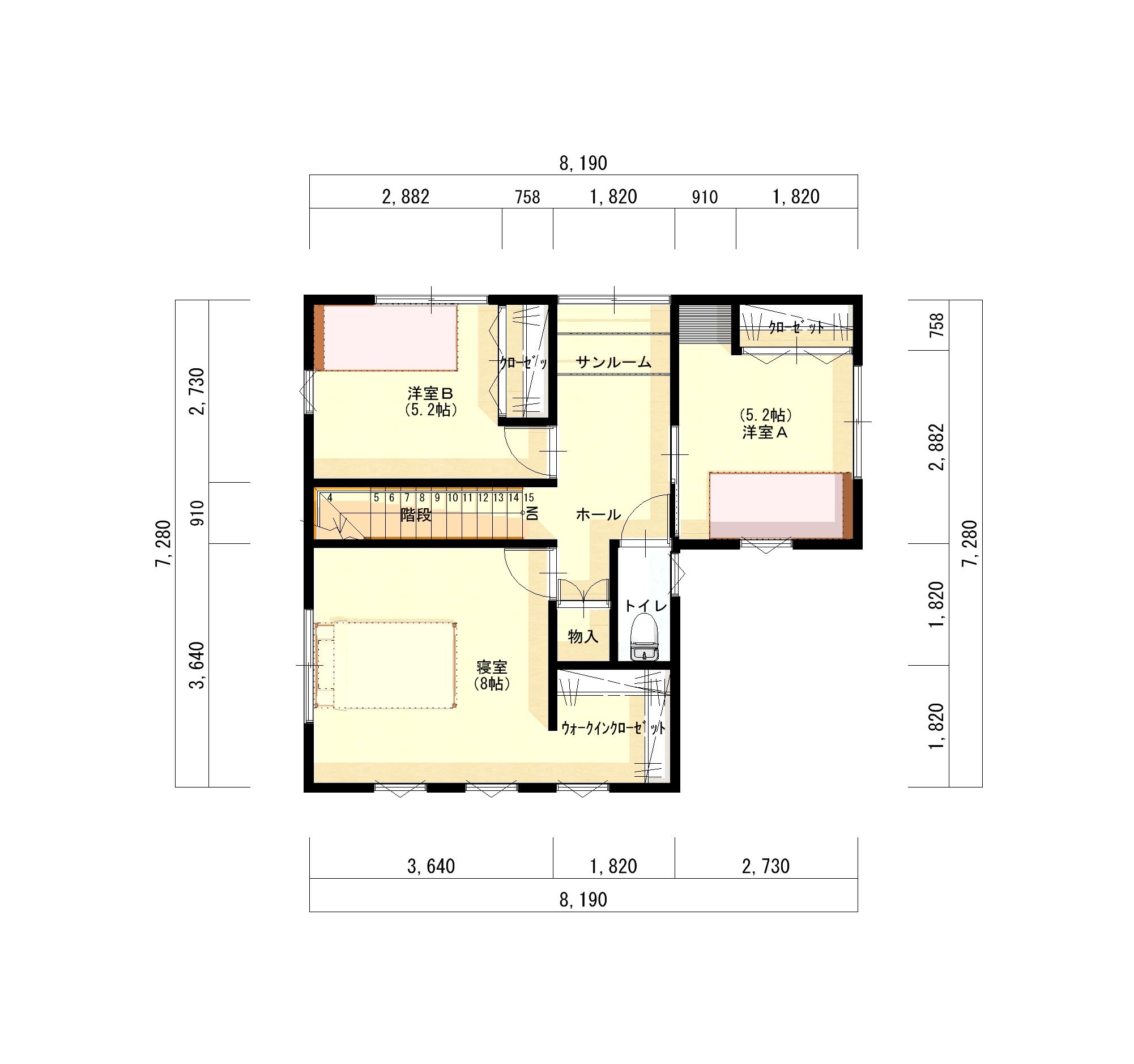 長岡市新保の建物プラン例の2階間取り図