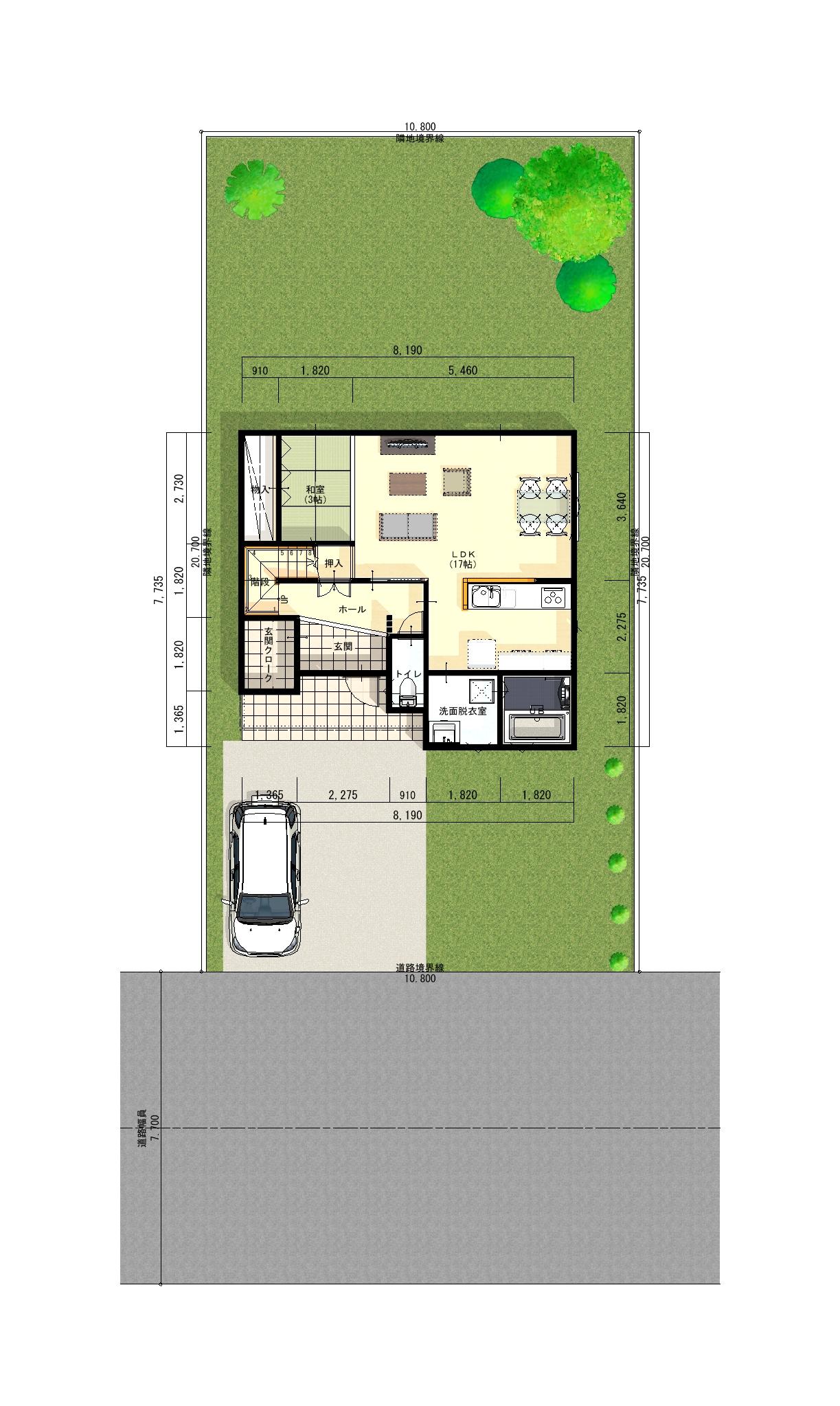 長岡市新保の建物プラン例の1階間取り図