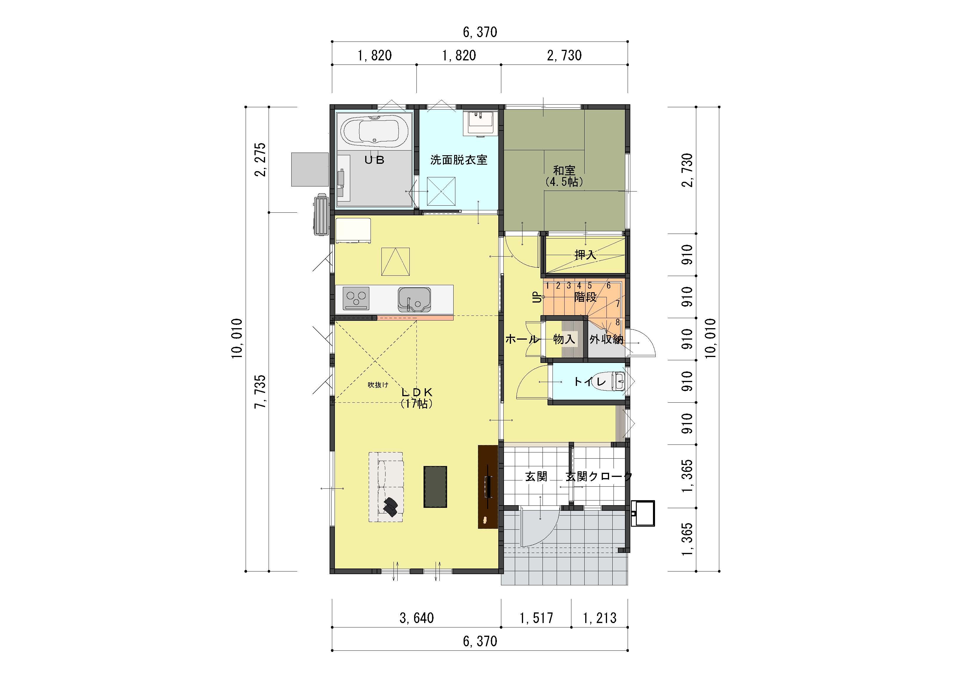 燕市吉田弥生町の不動産【土地】の建物プラン例の1F間取(間取)