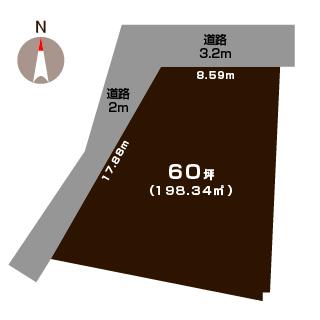 新発田市西園町の【土地】の敷地図