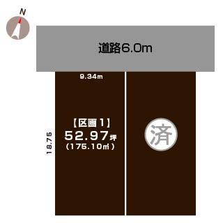新潟市北区太夫浜新町の【土地・分譲地】の敷地図