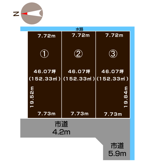 三条市南四日町の土地・分譲地の敷地図