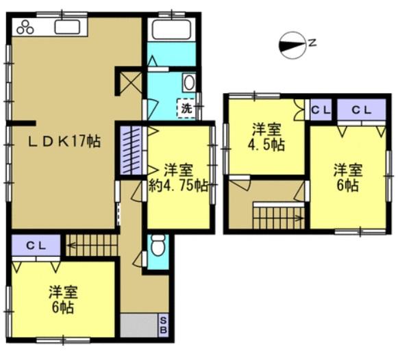 新潟市西蒲区巻甲の中古住宅の間取図