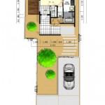 新潟市中央区鳥屋野の土地の建物プラン例(配置図)
