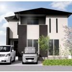 新潟市西区五十嵐2の町の建物プラン例の外観パース(区画4)