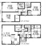 新潟市江南区うぐいすの新築住宅の間取図