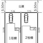 新潟市西区立仏の新築住宅の区画図