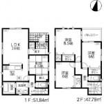 新潟市西区立仏の新築住宅の間取図