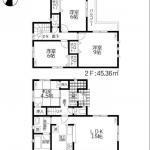 新潟市西区山田の新築住宅の間取図