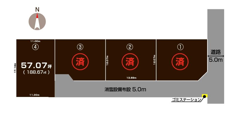 三条市林町の土地の敷地図
