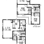 新発田市緑町の新築住宅の間取図