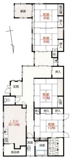 三条市塚野目の中古住宅の間取図