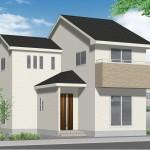 新潟市江南区城山の新築住宅の外観完成予定パース