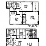 新潟市東区浜町の新築住宅の間取図