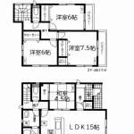新潟市東区下木戸の新築住宅の間取図