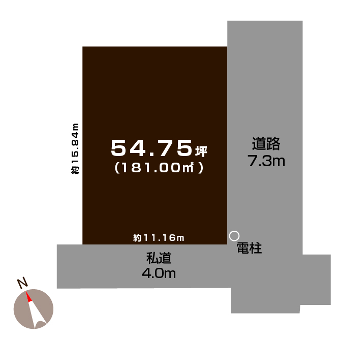 長岡市川崎の土地の敷地図(敷地図)