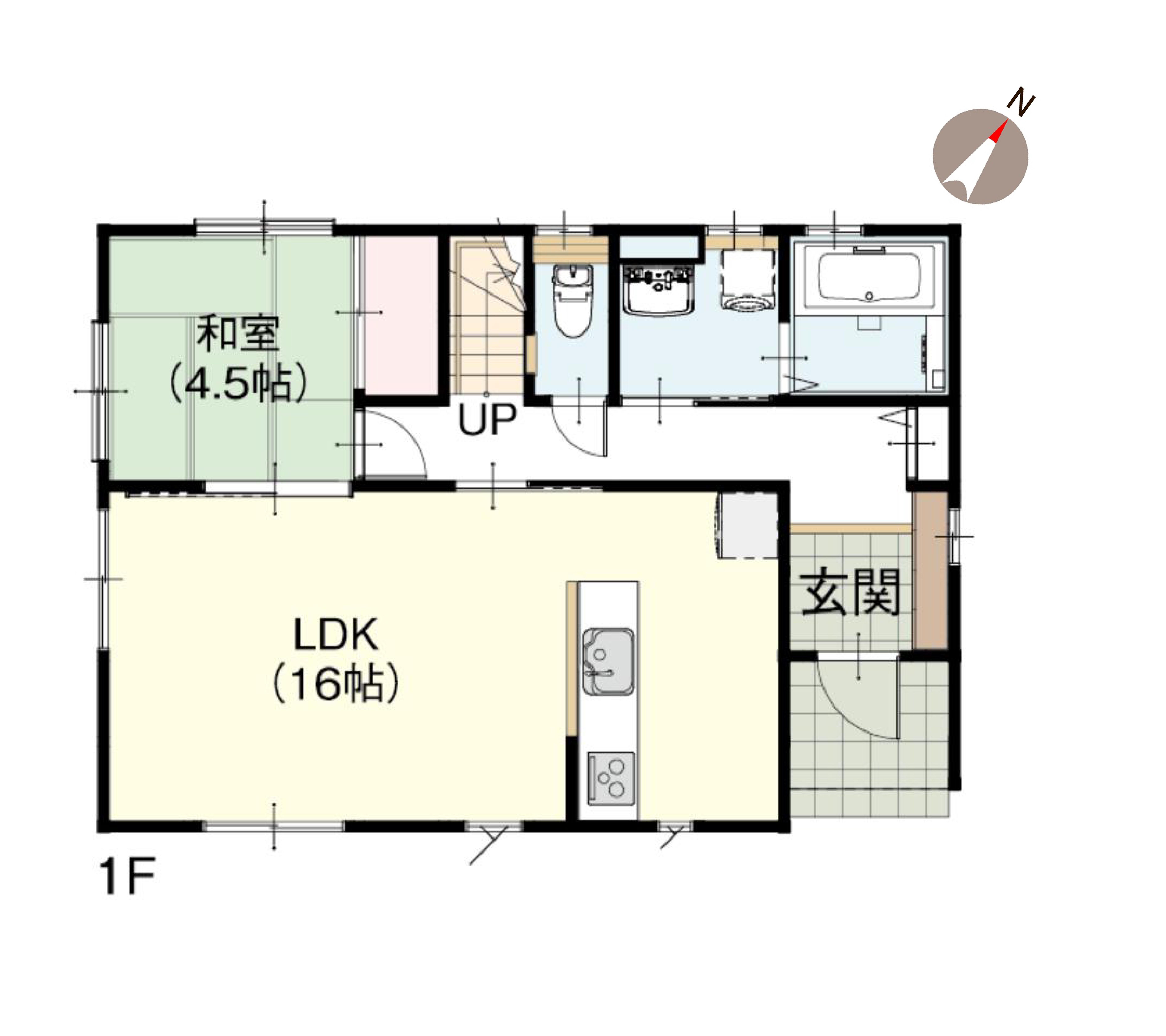 新発田市東新町の新築住宅の間取図