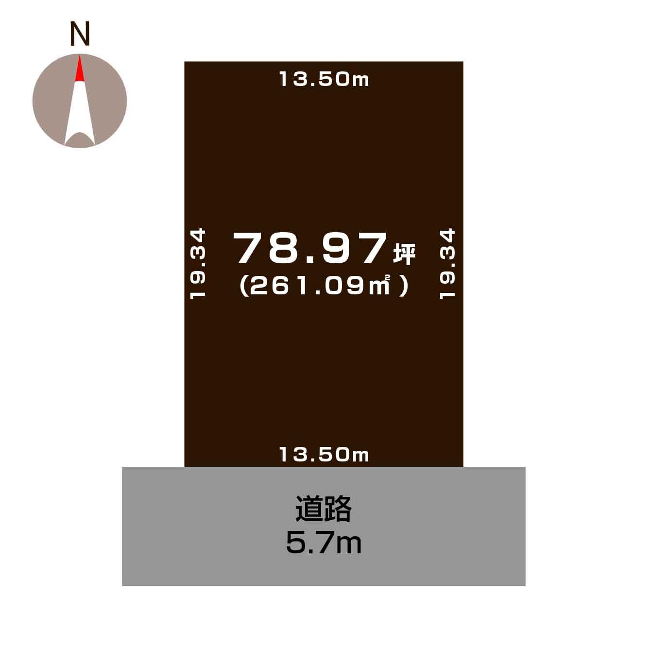 新潟市秋葉区車場の土地の敷地図(敷地図)