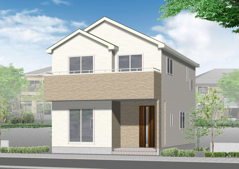 新潟市東区中野山の新築住宅の外観完成予定パース