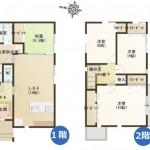 三条市南四日町の新築住宅の間取図