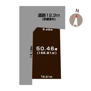 新潟市江南区天野の土地の敷地図