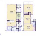 新潟市江南区横越川根町の新築住宅の間取り図