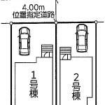 新潟市東区粟山の新築住宅の土地の区画図