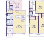 新潟市江南区亀田水道町の新築住宅の間取り図