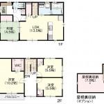 新潟市秋葉区北上の新築住宅の間取り図