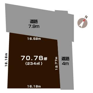 新潟市秋葉区柄目木の土地の敷地図
