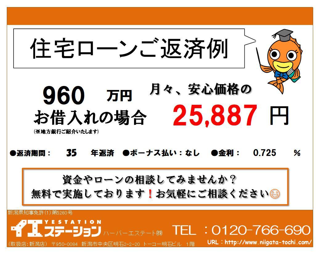 新潟市秋葉区善道町の中古住宅の住宅ローン返済例