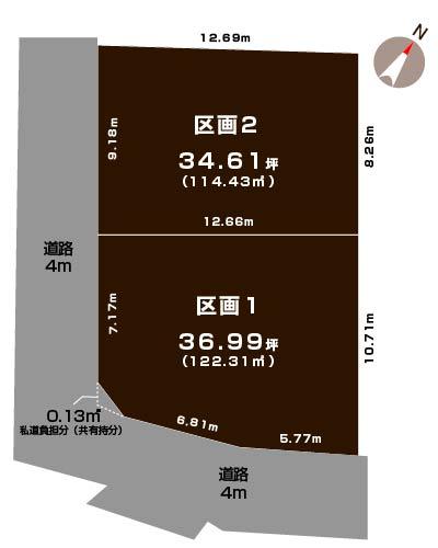 新潟市中央区関屋恵町の土地の敷地図