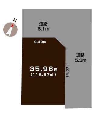 新潟市東区新岡山の土地の敷地図