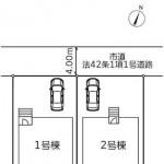 新潟市北区松浜新町の新築住宅の土地の区画図