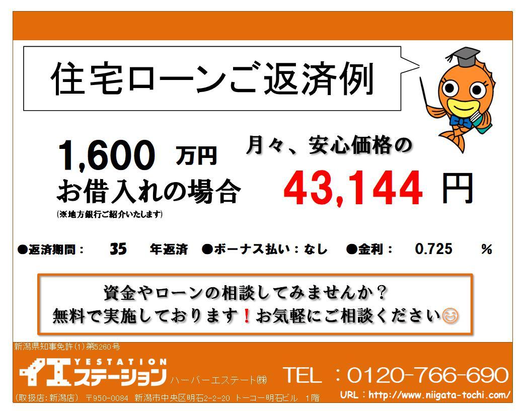 新潟市中央区米山の中古マンションの住宅ローン返済例