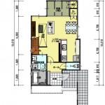 新潟市西区寺尾の土地の建築プラン例の1階間取図