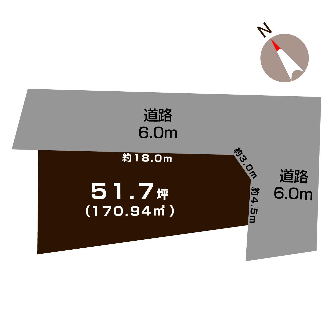 長岡市上除町の土地の敷地図