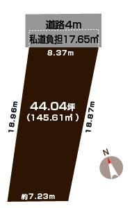 新潟市西区寺尾の土地の敷地図