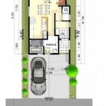 新潟市東区小金台土地の建築プラン例2の配置図