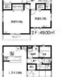 新潟市東区粟山の新築住宅の間取り図