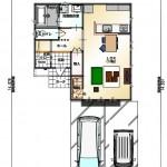新潟市東区牡丹山の土地の建築プラン例の1階間取図