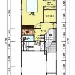 新潟市東区小金台土地の建築プラン例1の1階間取図