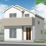 新潟市東区粟山の新築住宅の外観完成予定パース