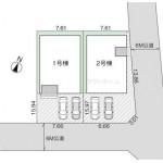 新潟市西区五十嵐中島の新築住宅の敷地図