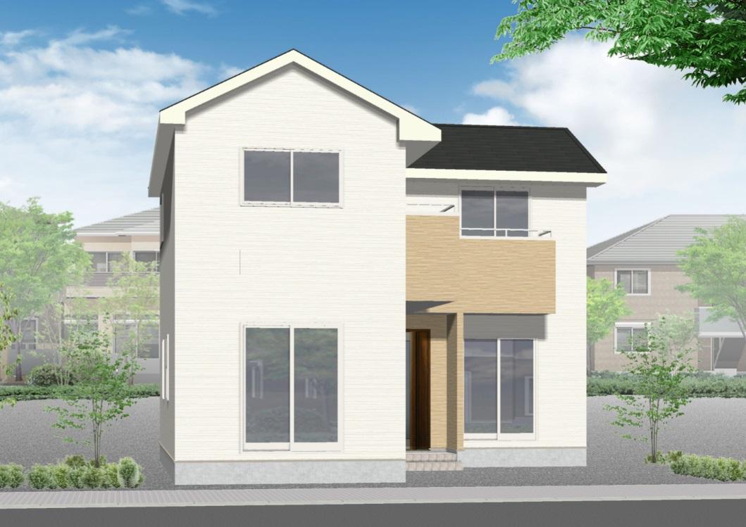 加茂市石川の新築住宅の外観パース