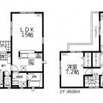 加茂市石川の新築住宅の間取図