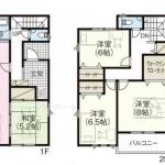 新潟市西区五十嵐中島の新築住宅の間取り図