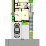 新潟市東区小金台土地の建築プラン例3の配置図