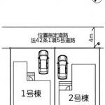新潟市東区中山の新築住宅の土地の区画図