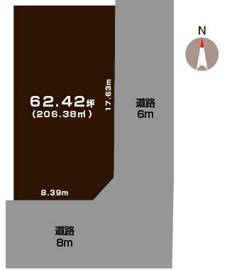 新潟市北区松浜東町の土地の敷地図